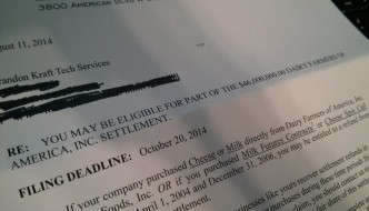 Letter inviting me to join a class action lawsuit for bulk purchasing cheese.