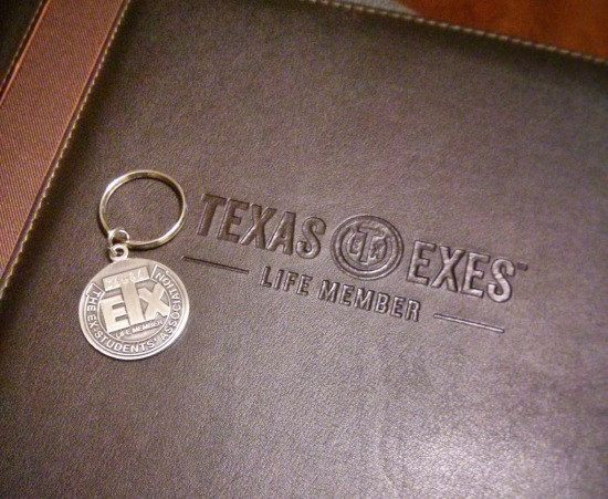The Texas Exes Life Member keychain and padfolio